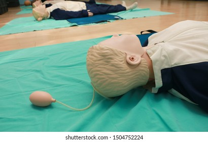 adult training manikin CPR Training in emergency refresher training to assist of physician,Healthcare Concept