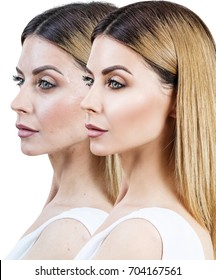 Adult woman before and after retouch