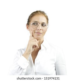 adult woman thinking