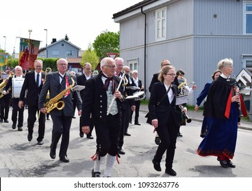 Adults in traditional bunad clothes - Celebrate 17 th May with parade live music instruments - Constitution day - Kongsvinger, Norway (18th May 2018)