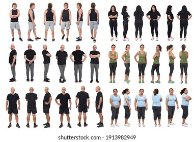 adults wemen and men in sportswear face, profile and back  standing on white background