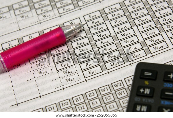 Advanced calculations (maths, physics, architecture) set with pink pencil and calculator