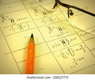 Advanced mathematics (maths) in vintage style