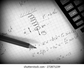 Advanced physics and maths notes (handwriting)