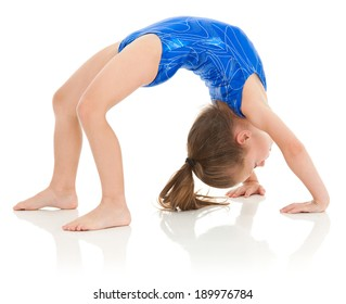 Advanced skill for a young girl, it's never too early to start kids in athletics! She is pushing up into a bridge position.