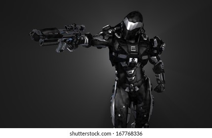 Advanced super soldier with gun