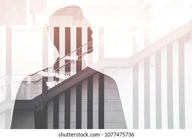 advancement on a career ladder. Closeup photo of stylish business man with a tie. Double exposure, panoramic view contemporary megapolis background. Space for your business message.