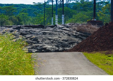 Advancing lava in the town of Pahoa, Big Island, Hawaii