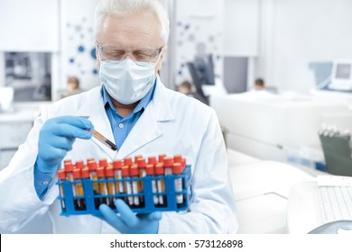 Advancing science. Senior professional scientist wearing protective mask working with blood samples in his laboratory copyspace profession occupation medical biologist researcher technician concept