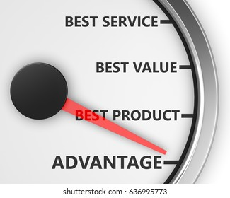 Advantage Better Product Price Service Speedometer 3d Illustration rendering