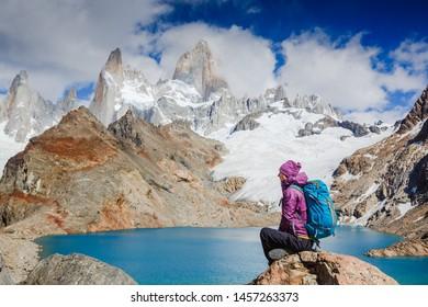 Advanture traveler enjoy the view of Fitz Roy Mountain, Patagonia, Argentina. Mountaineering sport lifestyle concept