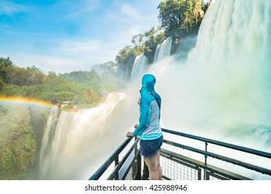 Advanture Traveler enjoy watching Iguazu falls, Argentina