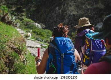 Advature travellers trekking to Machu Picchu on Inca Trail - Peru