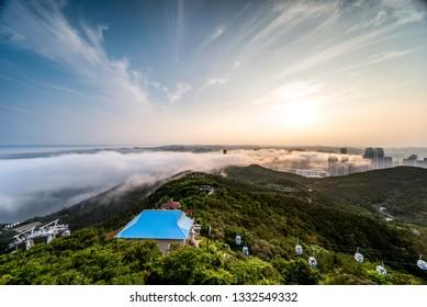 Advection fog of Dalian Xinghai Bay Bridge