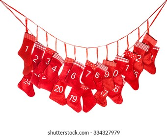 Advent calendar 1-24. Red christmas stocking isolated on white background. Holidays decoration. Nikolaus
