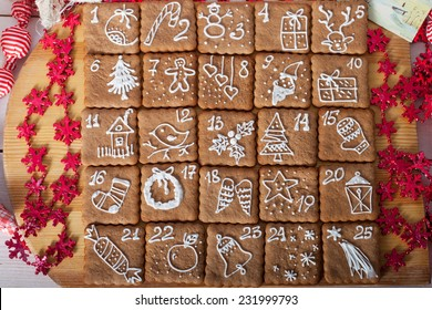advent calendar, Christmas handmade gingerbread painted icing