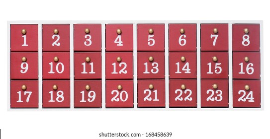 Advent Calendar made of wood isolated over a white background / Christmas Time