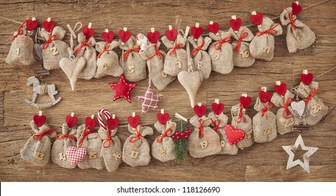 Advent calendar on wooden background