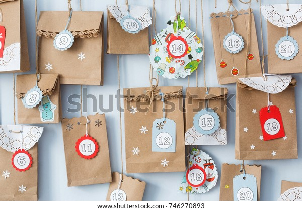 advent calendar with small gifts close up