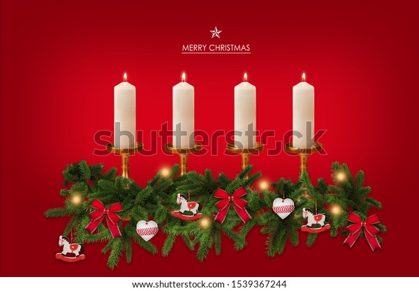 Advent candles with christmas decoration, background