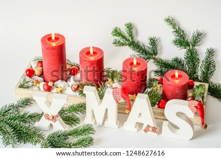 Advent Candles Creche Week 4 Christmas Stock Photo Edit Now