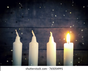 Advent candles on a rustic wooden background, Christmas concept