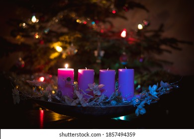 advent concept with christmas tree background