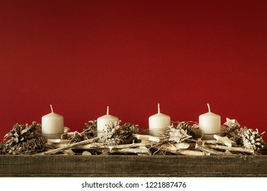 Advent time four candles not burning with red background for your content
