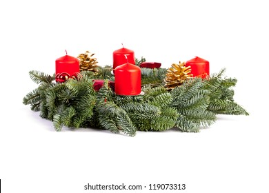 advent wreath candles christmas on white background