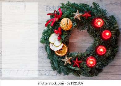 advent wreath on wooden background