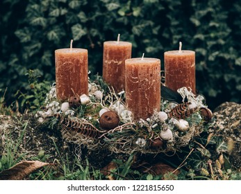 Advent wreath for the pre Christmas time. DIY Christmas decoration.