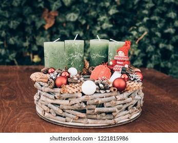 Advent wreath for the pre Christmas time. DIY Christmas decoration.