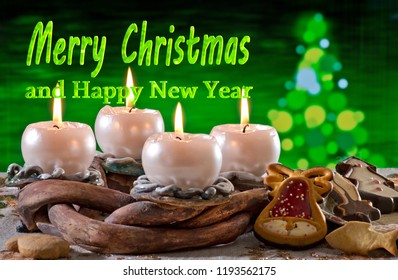 Advent Wreath with text Merry Christmas and Happy New Year