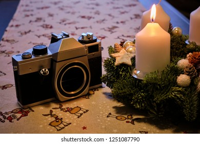 Advent wreath with vintage camera