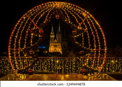 Advent in Zagreb - Night panorama of Zagreb cathedral at the time of Advent - Christmas and New Year's Eve in Zagreb, Croatia