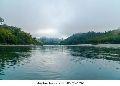 Adventure Boat Trip to Natt Kyun (Island of Gods), Fairy Island in Mali Kha River, Machanbaw Township, Kachin State, Myanmar.