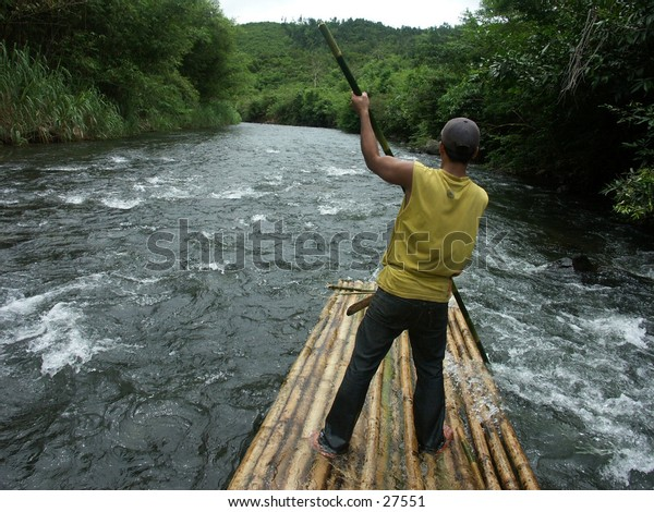 It's adventure called bamboo rafting, an ecotourism from Borneo Island.