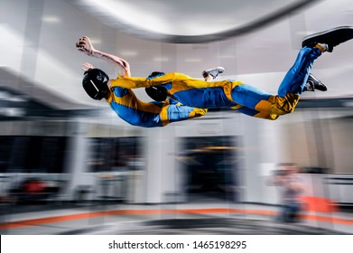 Adventure fly. Indoor sky diving Bulgaria. Action fly sport in wind tunnel
