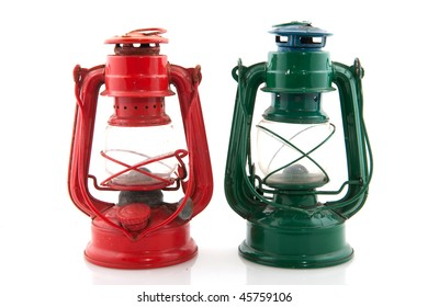 Adventure lights in red and green isolated over white