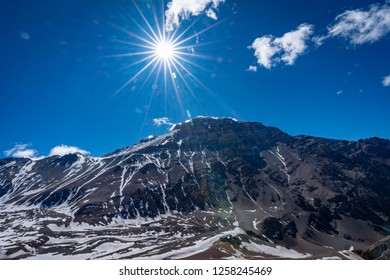 Adventure with mountains, snow, beautiful skys, and more in Aconcagua national park. Insane views, water, skys, colors, etc. Mountains are a mix of Argentina, Chile and the Andes ranges
