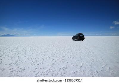 Adventure roadtrip at Salar de Uyuni or Uyuni Salts Flats in Bolivia, South America, 25th April 2018