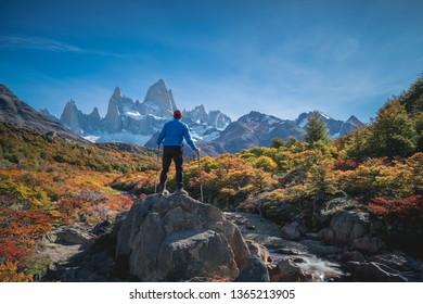 Adventure traveler enjoy autumn in Fitz Roy Mountain, Patagonia, El Chalten - Argentina