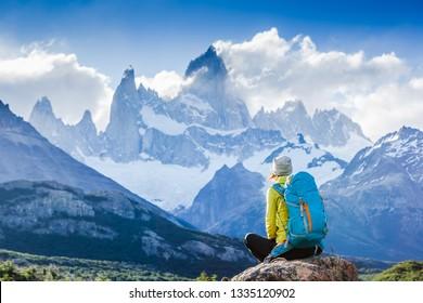 Adventure traveler fall in love with Fitz Roy, Patagonia, El Chalten - Argentina