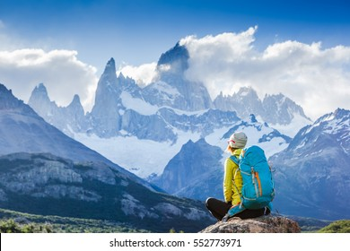Adventure traveler fall in love with Fitz Roy, Patagonia, El Chalten - Argentina