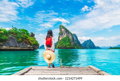 Adventure traveler young woman joy view beautiful destination island Phang-Nga bay, Famous landmark travel place Phuket Thailand, Tourism natural scenic landscape Asia, Tourist summer holiday vacation