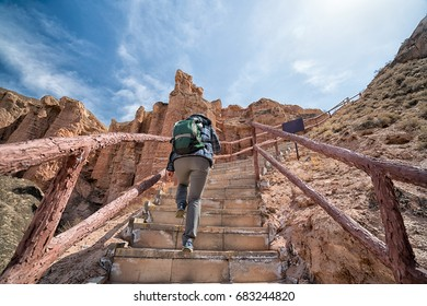 Adventure travlers love trekking with ecotourism at Binggou Danxia Lanform, Zhangye, Gansu - China