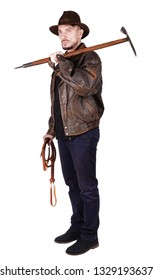 Adventurer explorer is holding pick axe and whip isolated on white background