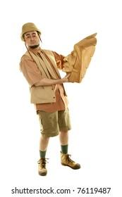 Adventurer explorer is holding wooden idol
