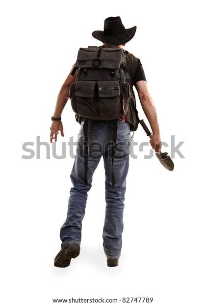 Adventurer Explorer Spade View Back Stock Photo (Edit Now
