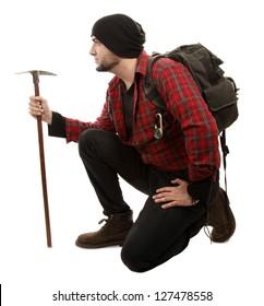 Adventurer hiker with pick